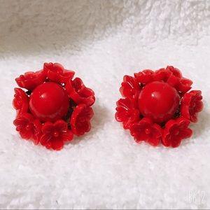 Red Class Vintage Clip On Flower Earrings  Vintage